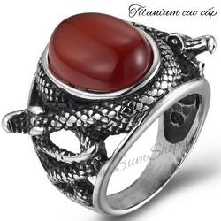 Nhẫn nam độc đáo cẩn đá đỏ