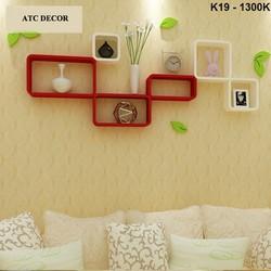 Kệ gỗ treo tường phòng khách giá rẻ K19