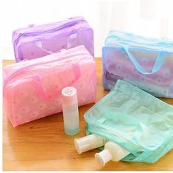 Combo 2 túi hoa trong đựng mỹ phẩm du lịch đa năng - nhựa mỏng dẻo