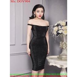 Đầm ôm dự tiêc bẹt vai sành điệu vải ánh kim sang trọng DOV904