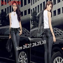 Quần jean nữ lưng cao dài ống ôm xám ghi cá tinh QD298