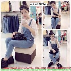 Quần yếm jean nữ phong cách thời trang cực sành điệu QY24
