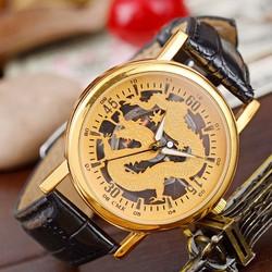 Đồng hồ dây da họa tiết hình rồng có 2 màu cho bạn chọn lựa-111