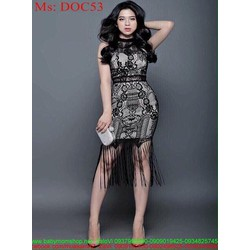 Đầm body cổ yếm vải ren nổi sành điệu thời trang DOC53
