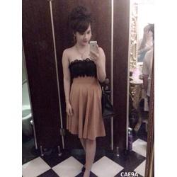 S831130 - Sét áo ren cúp ngực + chân váy dài xòe lưng cao xinh xắn
