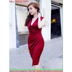 Đầm ôm dự tiệc kiểu cổ V chéo eo sành điệu sang trọng DOV909