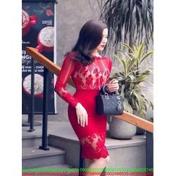 Đầm body dài tay phối ren hoa nổi sành điệu sang trọng DOV706