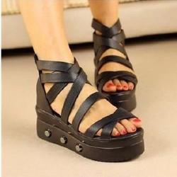 Giày Sandal Chiến Binh Đế Xuồng Hàn Quốc Độn Đế Bánh Mì Nữ Cao 6cm