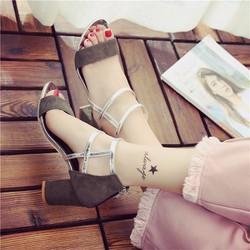 Giày gót vuông cổ cao kiểu dáng thời trang - LN339