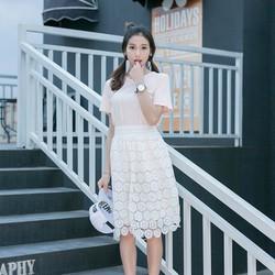 Chân váy ren hoa trắng xinh xắn