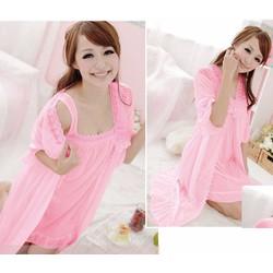Bộ đầm ngủ hai dây nữ+áo choàng tay lửng phối ren,sexy gợi cảm-DN282