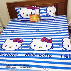 Bộ drap cotton cao cấp mèo hello kitty nBB24