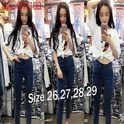 Quần jean nữ dài ống ôm chấm bi sành điệu phong cách QD300