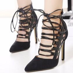 Giày cao gót dây ngang hai màu quyến rũ - 109