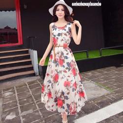 HÀNG CAO CẤP LOẠI I - Đầm maxi phối hoa hồng đỏ