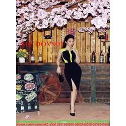Đầm ôm dự tiệc sành điệu phối 2 màu và xẻ đùi thời trang DOV907