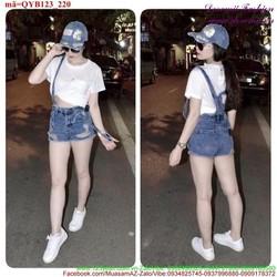 Quần yếm jean short rách bụi bặm sành điệu QYB123