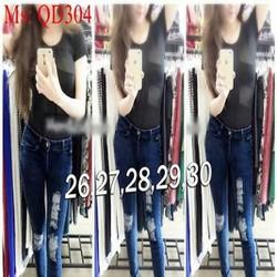 Quần jean nữ lưng cao xước kẻ ô phong cách bụi QD304