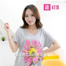 Áo bầu họa tiết hoa cúc hồng _ AB4110 Cotton _ Free _ Ghi