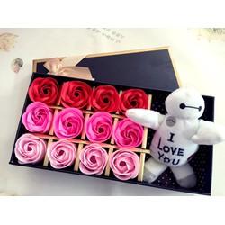 Hộp quà hoa hồng gấu bông chuyển sắc 12 hoa