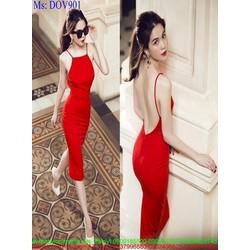 Đầm body cổ yếm hở lưng sành điệu sang trọng DOV901