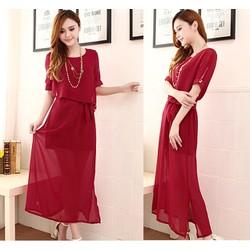 Đầm maxi nữ thời trang, xẻ tà trẻ trung, phong cách nữ tính-D2440