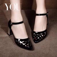 Giày đế vuông mũi nhọn cắt Laze -CG012190