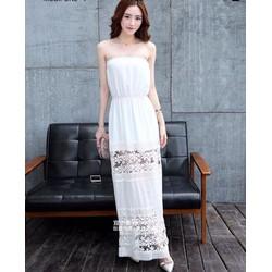Đầm Maxi Voan Cúp Ngực Viền Ren - DXM277