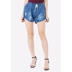 Quần Short Shorts Sooc Jeans Ngắn Đai Chun Cạp Lưng Cao Nữ Mài Rách