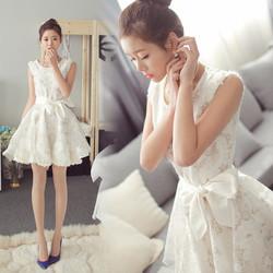 Váy xòe liền phối organza nữ tính - MU18327