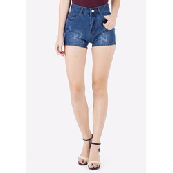 Quần Short Shorts Sooc Jeans Ngắn Cạp Lưng Cao Nữ Mài Rách 020CC RB