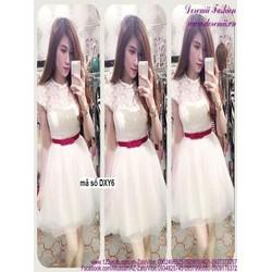 Đầm xòe dự tiệc màu trắng xinh đẹp ren phối lưới DZ405
