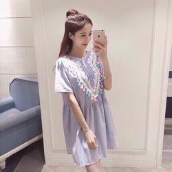 Đầm xoè thêu hoa tua rua-hàng Quảng Châu-d153