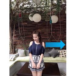 Sét áo trễ viền ren quần hoa-hàng Quảng Châu-d154