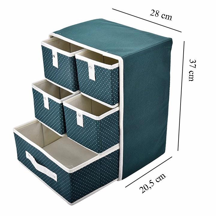 Tủ Vải Khung Cứng 3 Tầng 5 Ngăn 3