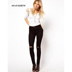 Quần jean nữ hot girl lưng cao 1 nút rách 2 bên cực phong cách QJE218