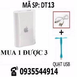Combo Pin sạc dự phòng Apple + dây cáp + quạt USB DT13