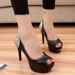 Giày cao gót nữ phối kim tuyến hở mũi hàng nhập - LN349