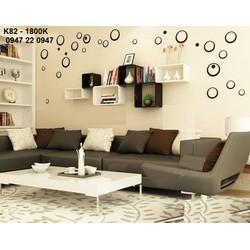 Kệ gỗ trang trí treo tường phòng khách hình nhật vuông K82