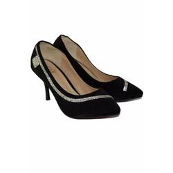 Giày Cao Gót Nữ Mũi Nhọn Da Lộn Gót Nhỏ Đen Trơn Công Sở Đính Đá