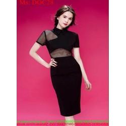 Đầm ôm tay con phối lưới đen sành điệu và sang trọng DOC28
