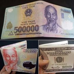 Bóp Ví Hình Tiền 500 000vnđ 100 USD và 200 000vnđ