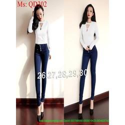 Quần jean nữ lưng cao ống ôm 4 nút sành điệu QD302