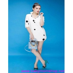 Đầm suông thiết kế cổ sơ mi sành điệu chấm bi dễ thương DSV172