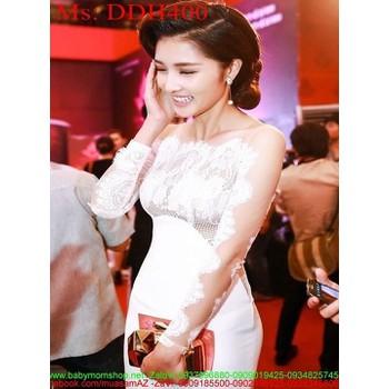 Đầm dạ hội dự tiệc dài tay trắng phối lưới ren sang trọng DDH400