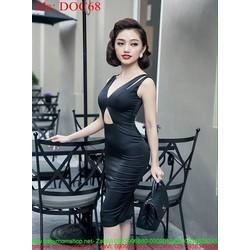Đầm body cổ V và khoét bụng sành điệu thời trang DOC68