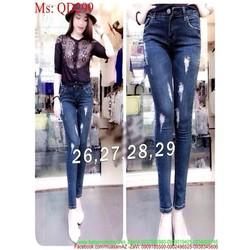 Quần jean nữ dài ống ôm cào xước nhẹ phong cách QD299