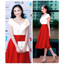 Sét áo trễ vai và váy đỏ xòe cách điệu HH Diễm Hương VN028170