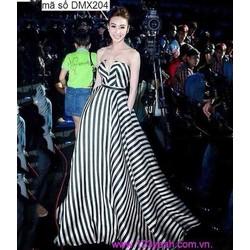 Đầm dạ hội cúp ngực xòe sọc trắng đen gợi cảm như Ngân Khánh DDH68
