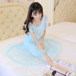 Đầm maxi vai đính hạt cườm xinh xắn